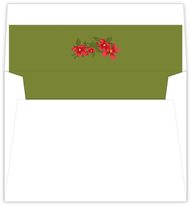 Red Retro Poinsettia Envelope Liner