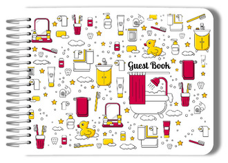 Fun Bath Icon Pattern Bathroom Guest Book