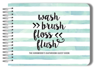 Watercolor Stripes Bathroom Guest Book