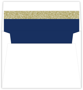 Navy and Gold Glitter Formal Envelope Liner