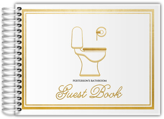 Fancy White & Gold Bathroom Guest Book