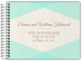 Mint and Rustic Woodgrain Anniversary Guest Book