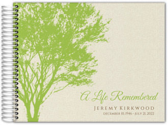 Cream and Green Rustic Tree Funeral Guest Book
