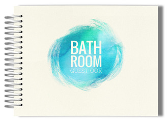 Aqua Watercolor Bathroom Guest Book