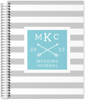 Gray Modern Stripes Monogram Wedding Journal