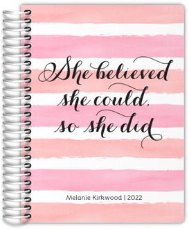 Watercolor Stripes She Believed Mom Planner