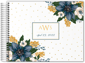 Beautiful Modern Blue Floral Wedding Guest Book