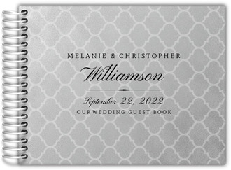 Faux Silver Foil Wedding Guest Book
