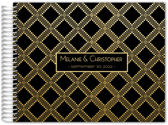 Gold Aztec Pattern Custom Wedding Guest Book