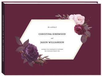 Burgundy Floral Geometric Frame Wedding Guest Book