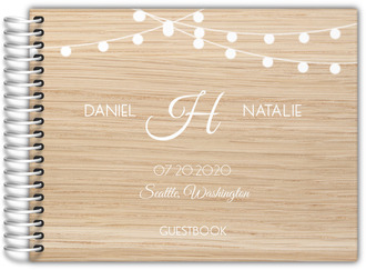 Wood and Hanging Lights Wedding Guest Book
