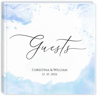 Winter Blue Watercolor Wedding Guest Book