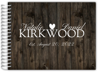 Dark Woodgrain Heart Wedding Guest Book