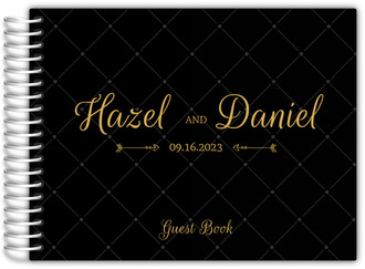Fancy Black and Gold Wedding Guest Book