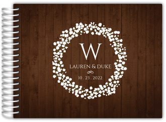 Rustic Baby Breath Wreath Wedding Guest Book