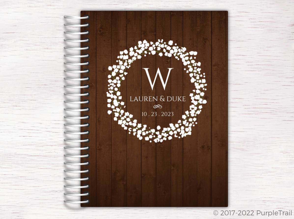 rustic baby breath wreath wedding journal wedding journals
