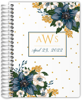 Beautiful Modern Blue Floral Wedding Journal