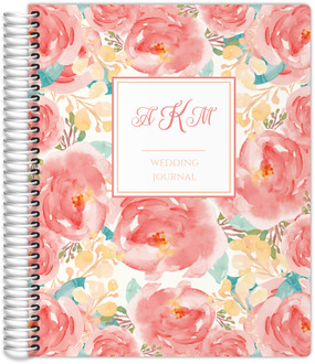 Pink Elegant Watercolor Flower Wedding Journal