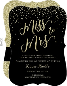 Black & Glitter Miss to Mrs Bachelorette Party Invitation