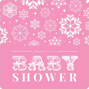 Bright Pink Baby Snow Shower Invitation Magnet