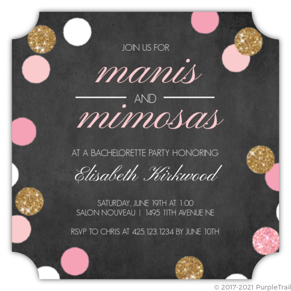 Manis And Mimosas Bachelorette Party Invitation Bachelorette Party