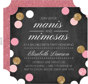 Manis and Mimosas Bachelorette Party Invitation