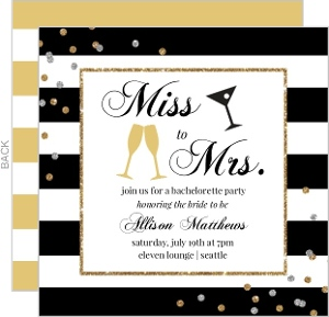 Striped Confetti Printable Bachelorette Invitation