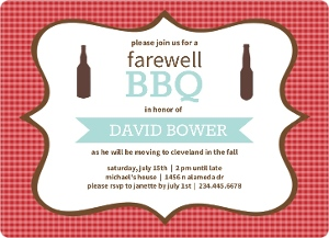 Checkered Backyard Bbq Farewell Party Invite Magnet