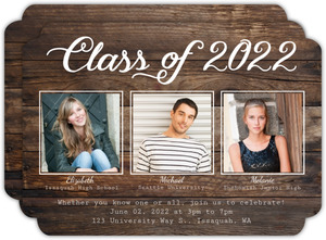 Woodgrain Triple Graduation Invitation