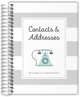 Mint Telephone Striped Address Book