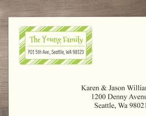 Winter Green Mint Stripes Custom Address Label