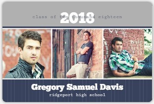 Blue and Gray Pics Graduation Annoucement Magnet