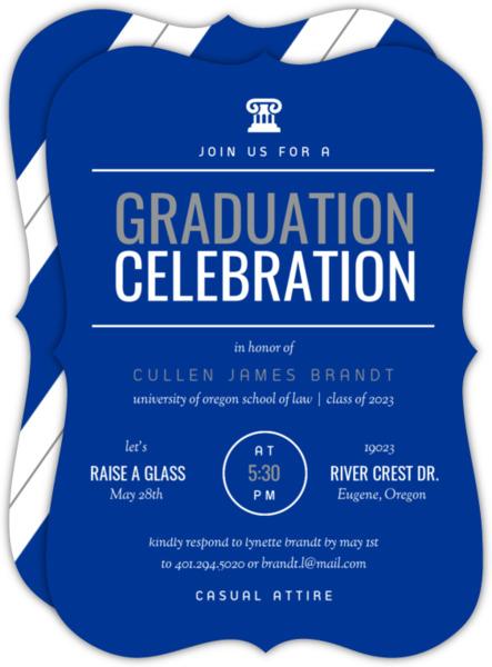 Modern Red & White Law School Graduation Invitation