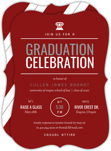 Modern Red & White Law School Graduation Invitation
