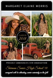 Black Multi Photo Graduation Announcements