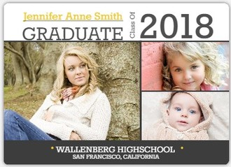 Simple Gray Graduation Photo Announcement