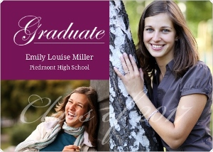 Simple Purple Graduation Announcement