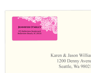 Pink and White Intricate Lace Sweet Sixteen Address Label