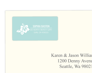 Turquoise and White Floral Luau Address Label