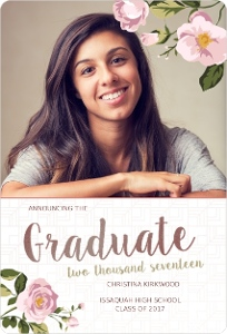 Rose Gold Pink Floral Graduation Announcement Magnet