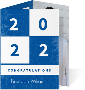 Blue Squares Trifold Graduation Invitations