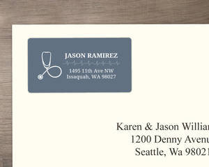 Blue Gray Nursing Address Label