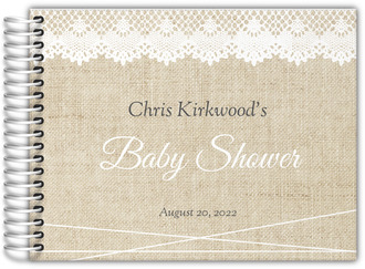 Vintage Burlap Lace Baby Shower Guest Book