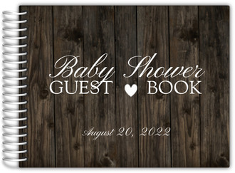 Dark Woodgrain Heart Baby Shower Guest Book