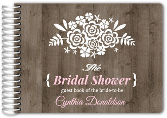 Brown & Pink Wood Bridal Shower Guest Book