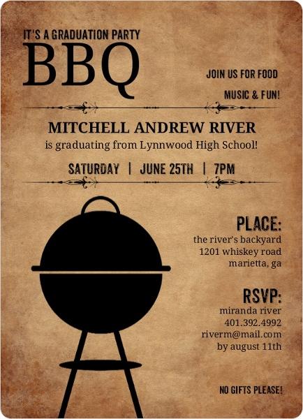 Rustic Backyard BBQ Graduation Invitation