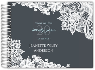 Grey Lace Business Retirement Guest Book