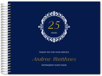 Navy & White Frame Retirement Guest Book
