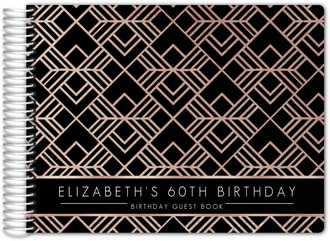 Modern Black & Bronze Pattern 60th Birthday Guest Book