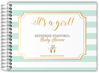 Mint Stripes Ballet Baby Shower Guest Book